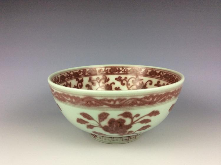 Large Chinese porcelain bowl, underglazed red glazed, decorated, marked