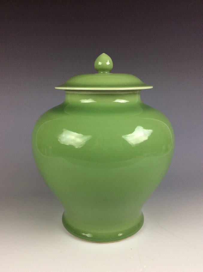 20C Late Qing Chinese porcelaine Jar with lid, green glazed, marked