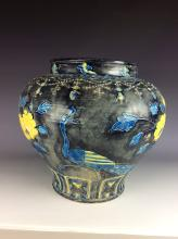 Important piece of Chinese Ming Fahua porcelain jar,  dark blue/black ground, decorated with  pacocks, flowers and rocks