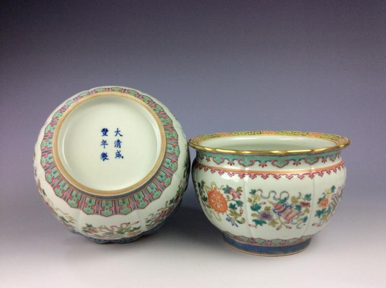 Rare a pair of Chinese Qing period porcelain pots,  famille rose glazed,  decorated & marked