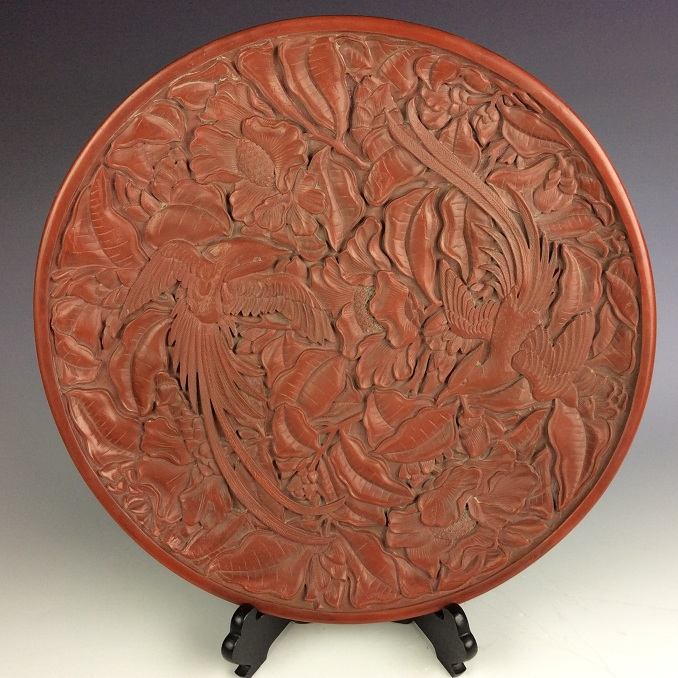 Important Chinese Carved Lacquer Cinnabar charger decorated with dragon & phenoix designed. marked