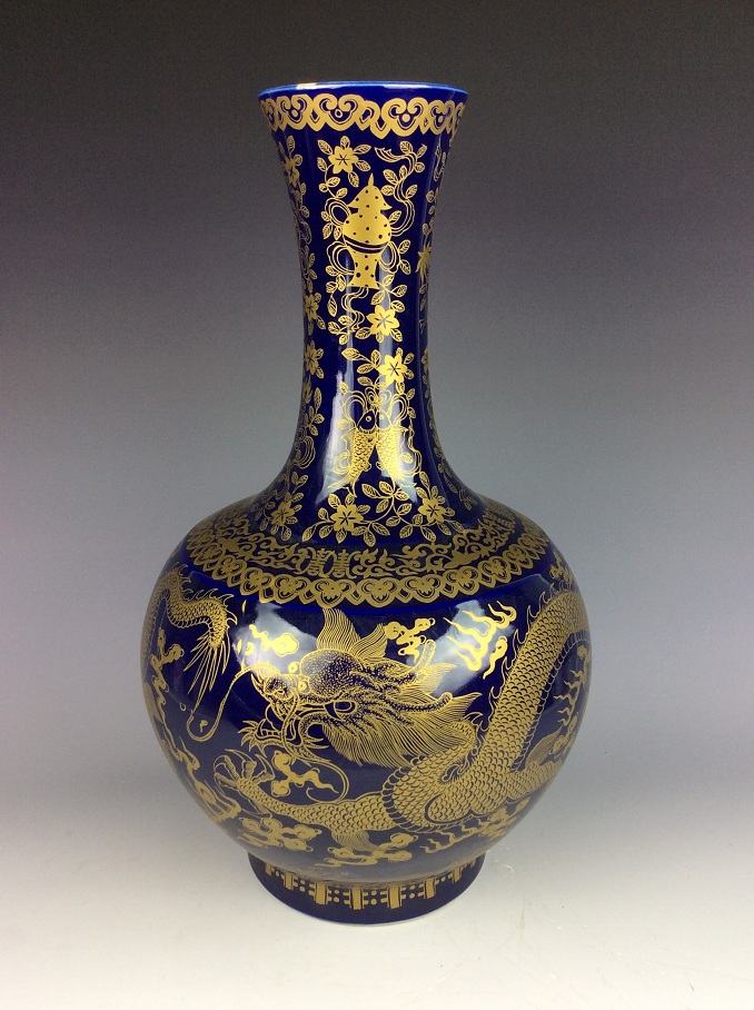 Large Chinese blue ground glaze porcelain vase, decorate withgilt dragons & marked