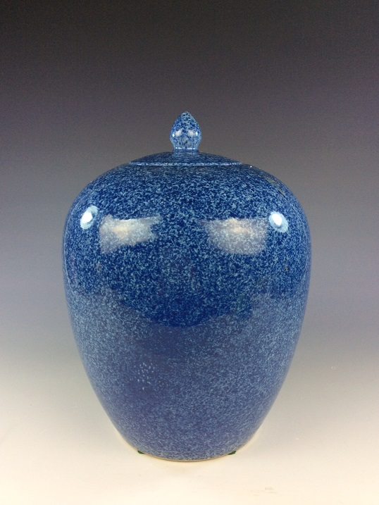 Fine Chinese porcelain jar with lid, blue ground glazed,   marked