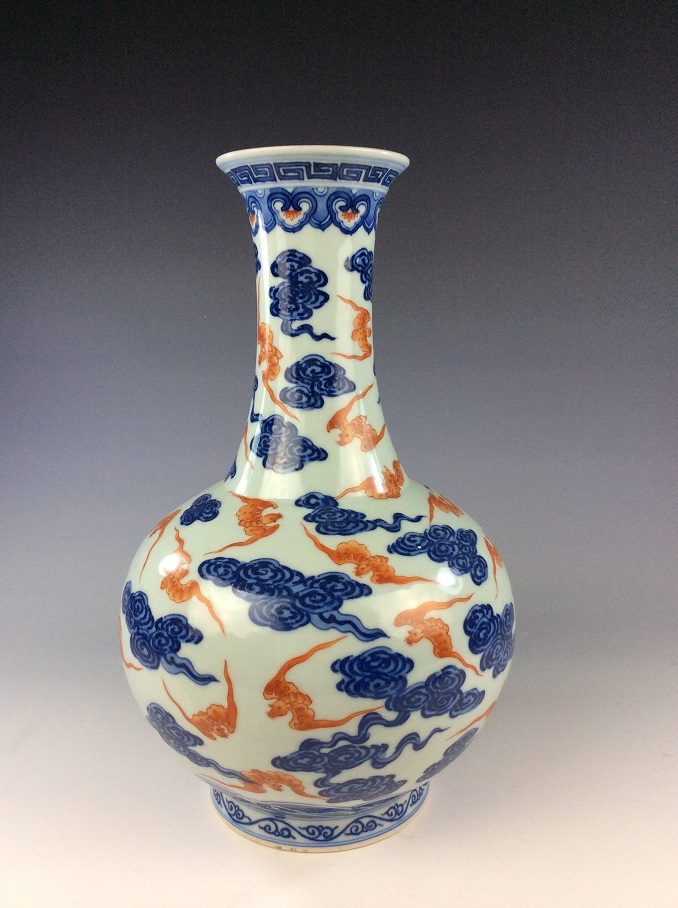 Fine Chinese porcelain blue & white with underglazed red glazed vase,   marked