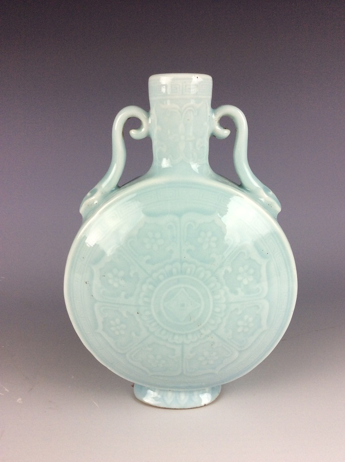 Fine Chinese porcelain vase, sky blue glazed, decored, marked