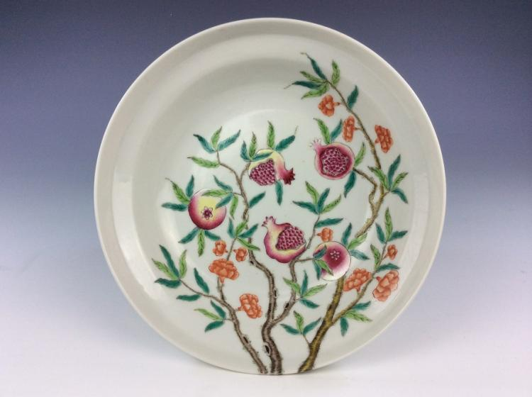 Late Qing period, 19C, Fine Chinese porcelain famille rose glazed plate, decoration & marked