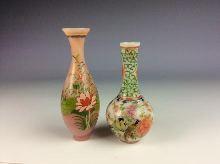 A set of two Chinese glass vase, enamel painted deecorated & marked