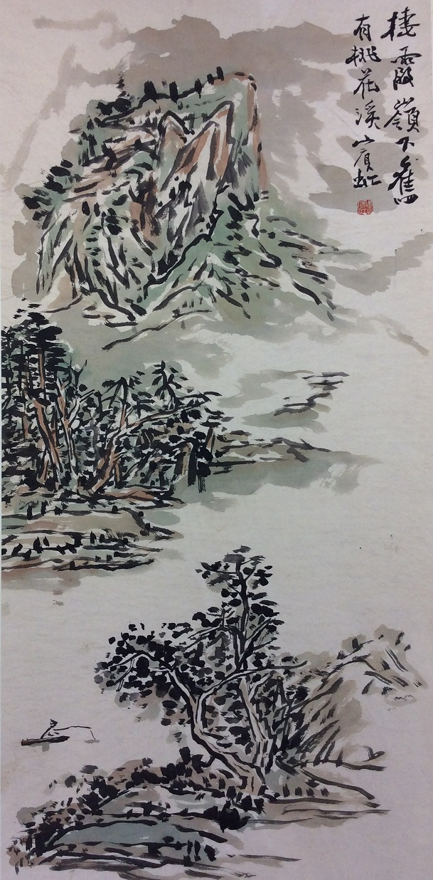 Chinese painting, hand painted scroll, ink and colors on paper