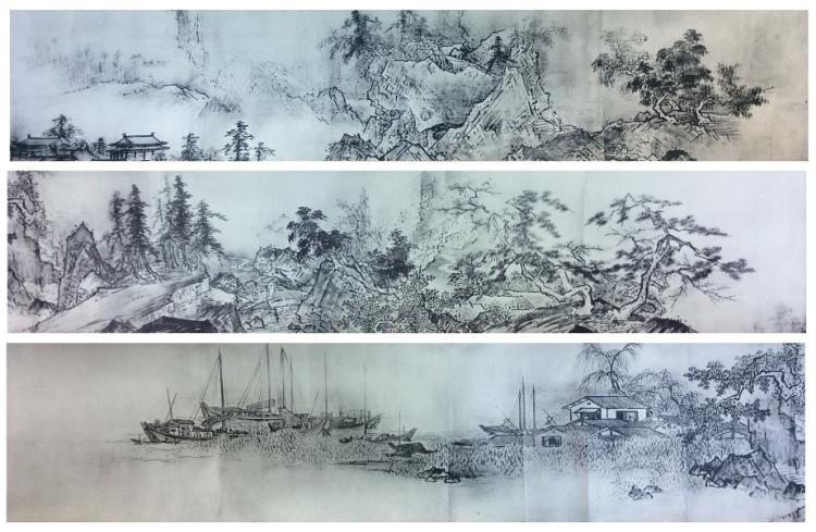 Japanese / Chinese painting long roll on paper.