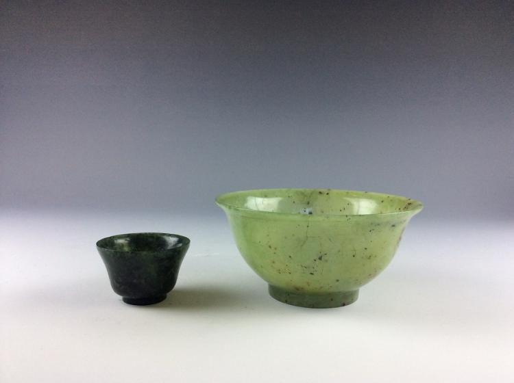 Set of 2 Chinese carved jade cups