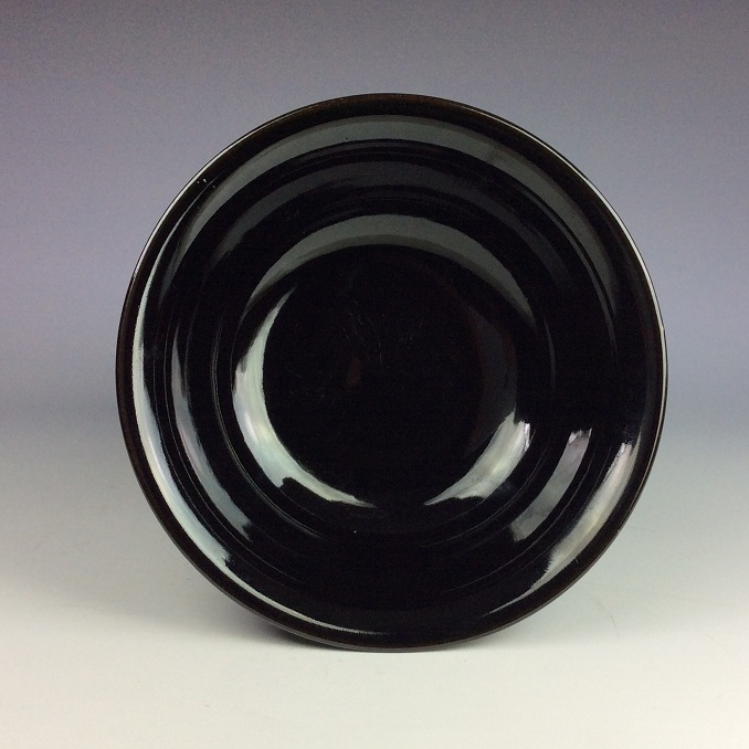 Vintage Chinese porcelain bowl, black glazed, marked