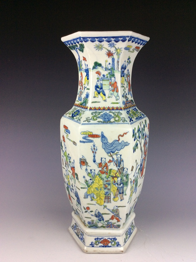 Chinese porcelain vase,  famille rose glazed, decorated, marked