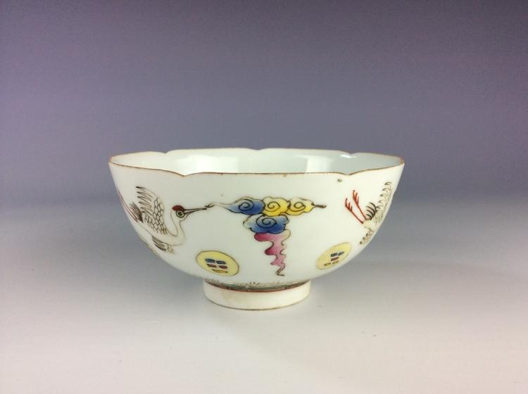 Fine late Qing 19C Chinese porcelain bowl, famille rose glazed, mark & period