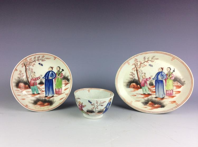 A set of 3 pieces Chinese exported porcelain cup and bowl, famille rose glazed, decorated