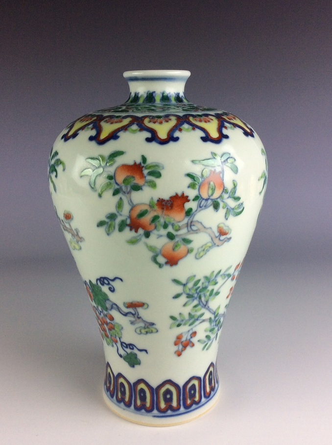 Rare Chinese porcelain vase, Doucai glazed, decorated, marked