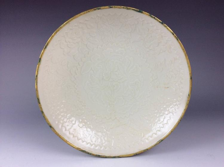 Fine Song Ding style Chinese porcelain plate, decorated