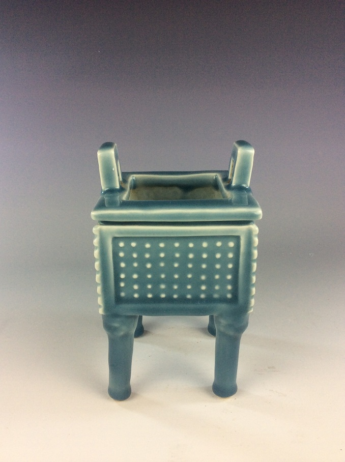 Fine Chinese porcelain blue glazed cencer, marked