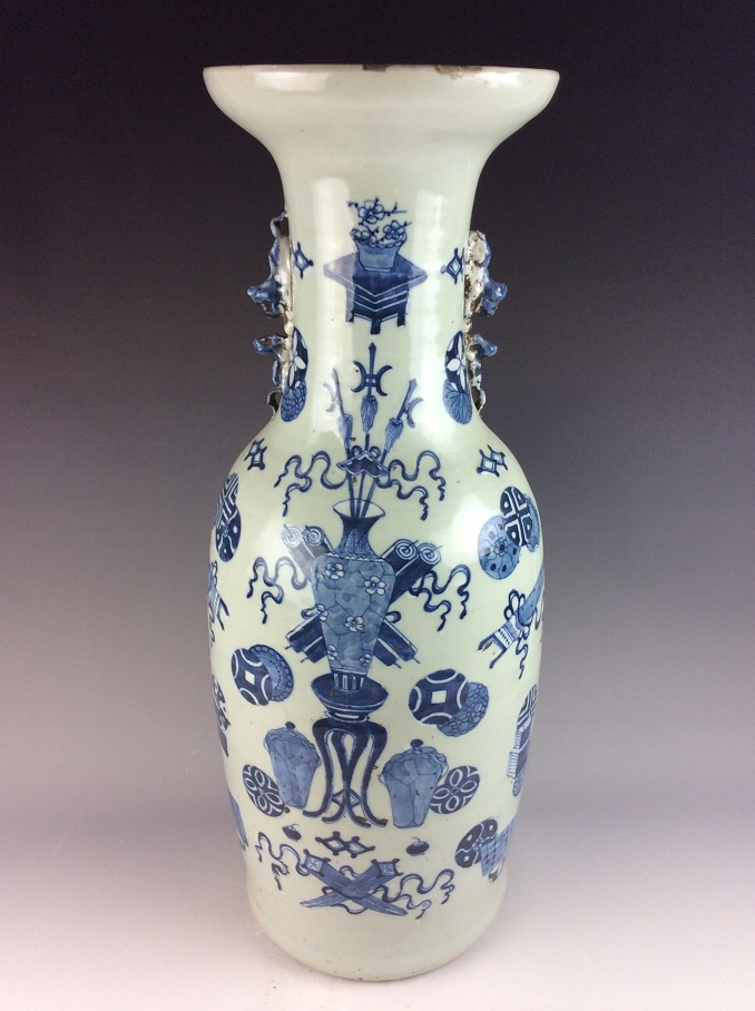 Large Rare Chinese porcelain vase, celedon with blue and white glazed,