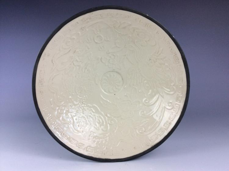 Fine Chinese  Ding style porcelain bowl, white glaze, decorated