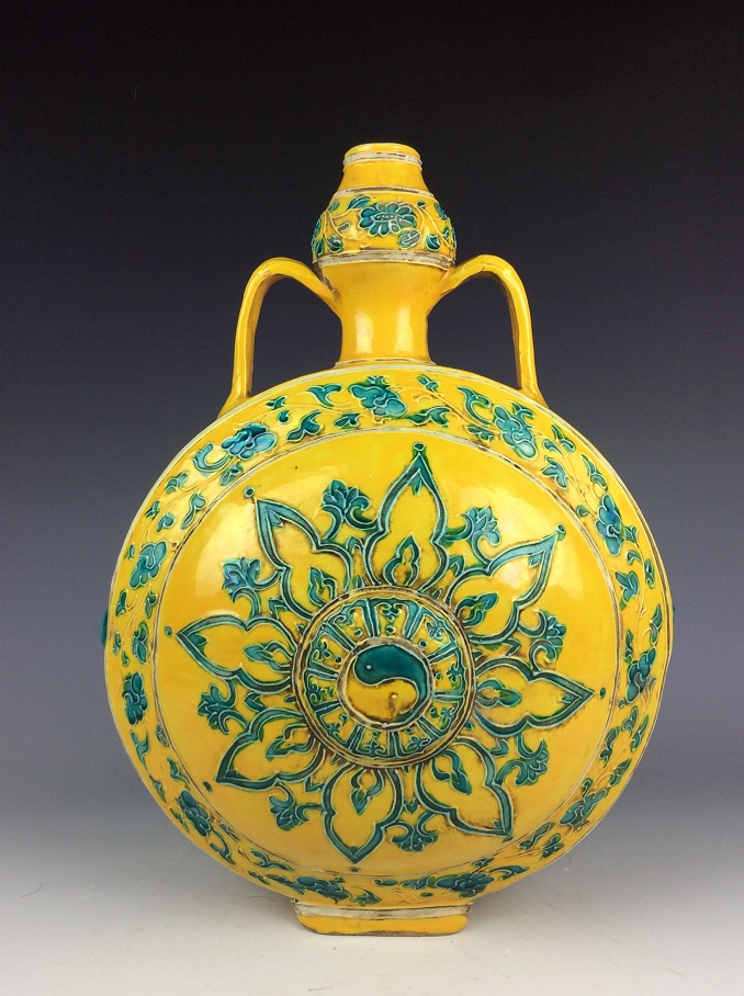 Chinese Ming style porcelain vase,  yellow background, decorated with green glazed
