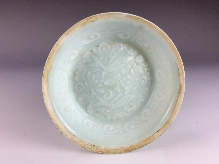 Chinese porcelain plate, misty blue (Qingbai) glazed, decorated