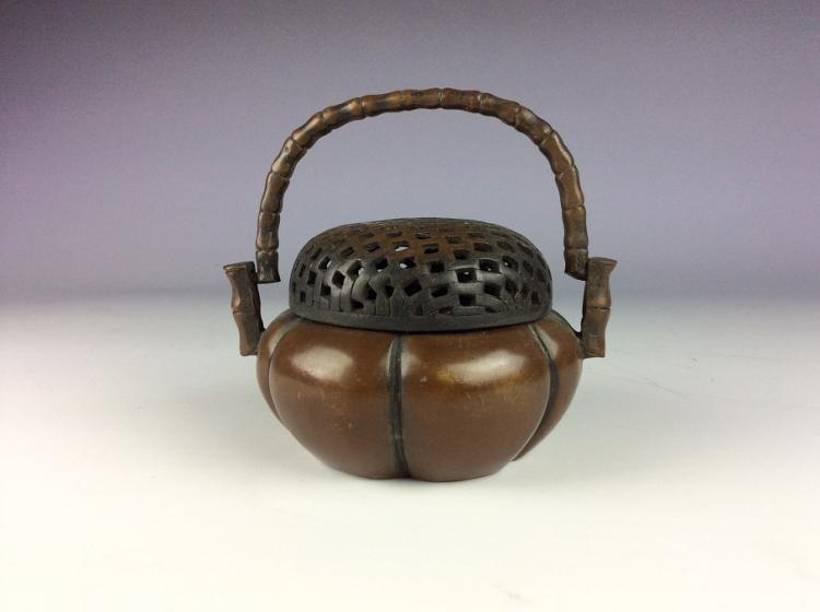 Fine Chinese copper censer, marked.