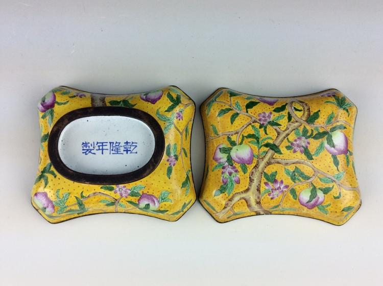 Fine 19th century Chinese enamel on copper, box shape, Qianlong mark