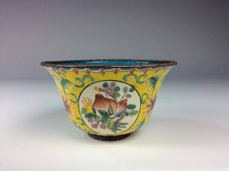 Chinese enamel cup, decoorated & marked.