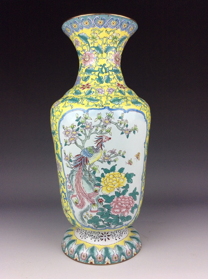 Chinese copper base enamel vase painted with phoenix and peony.