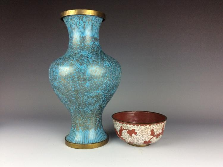Set of Chinese copper/metal base enamel vase and bowl.