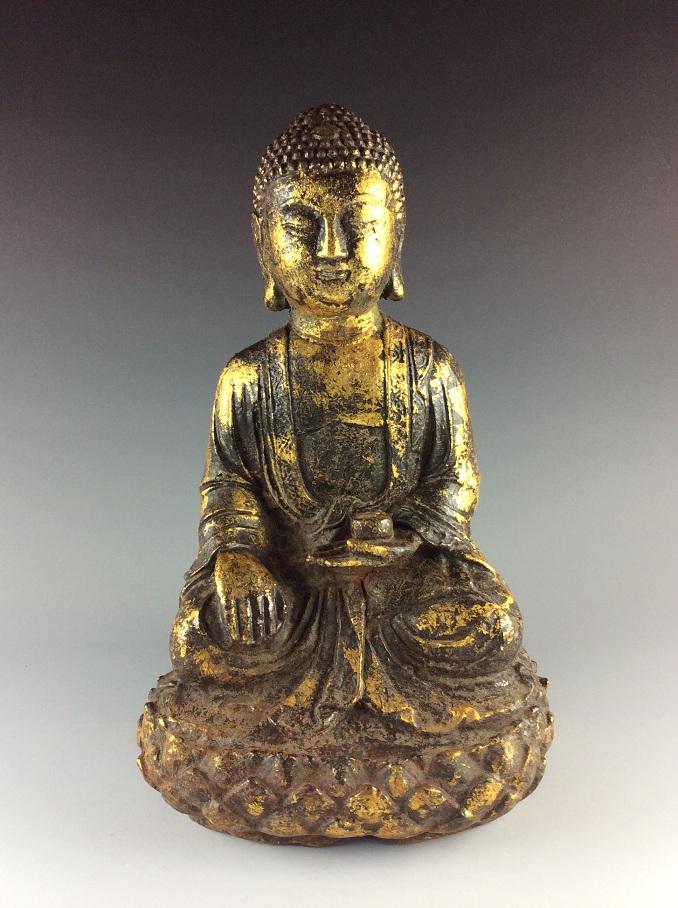 Large Rare Chinese Gilt Bronze Buddha Statue