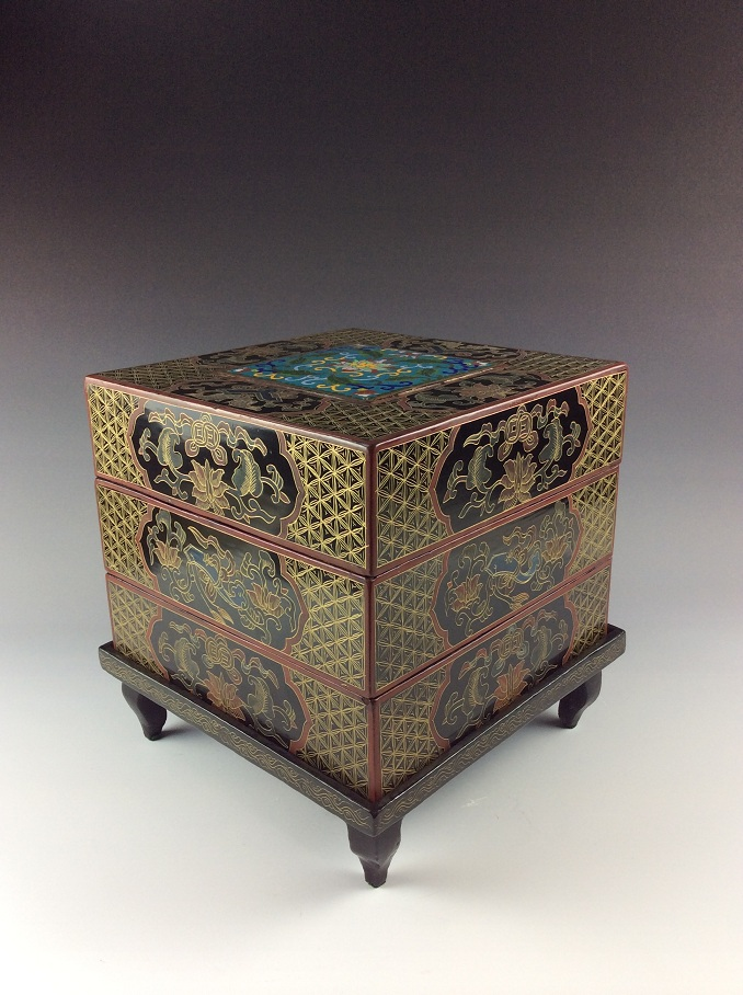 Elegant Chinese polychrome painting with clousure gold lacquer square tiered box decorated with cloisonne on top with Lotus pattern.