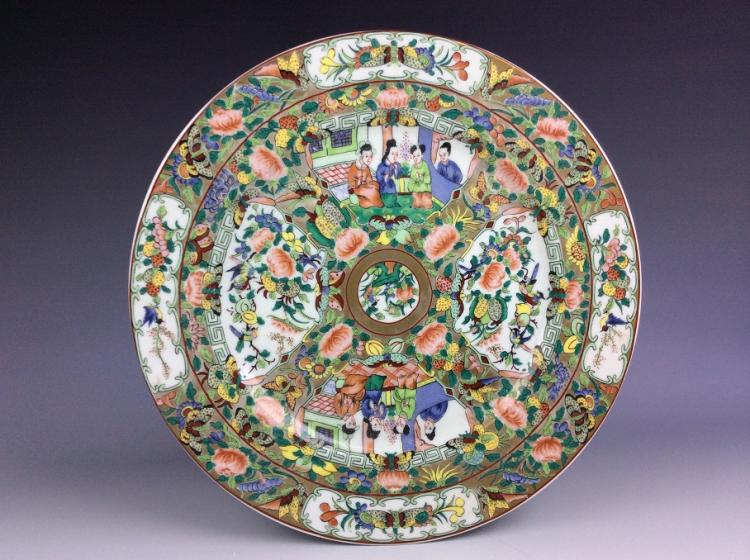 Export Chinese porcelain plate, famille rose glazed, decorated and marked.
