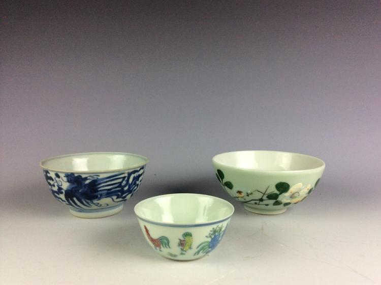 A set of three Chinese porcelain bowls.