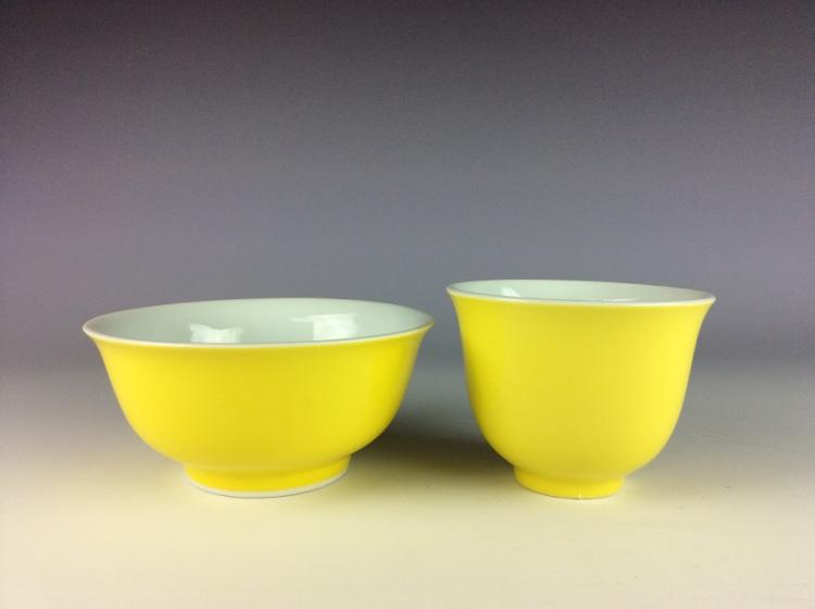 A set of Chinese porcelain cup& bowl, yellow glazed, marked