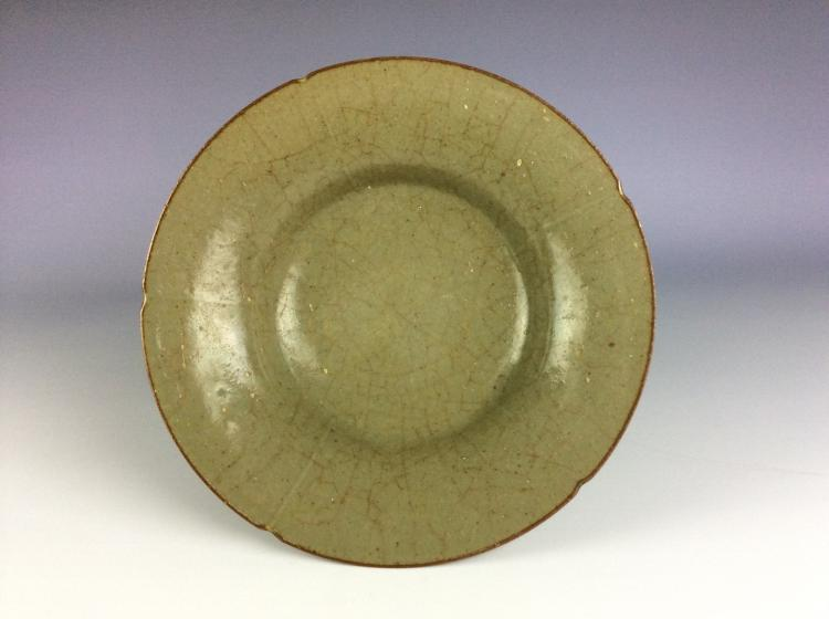 Chinese porcelain plate, celadon glaze