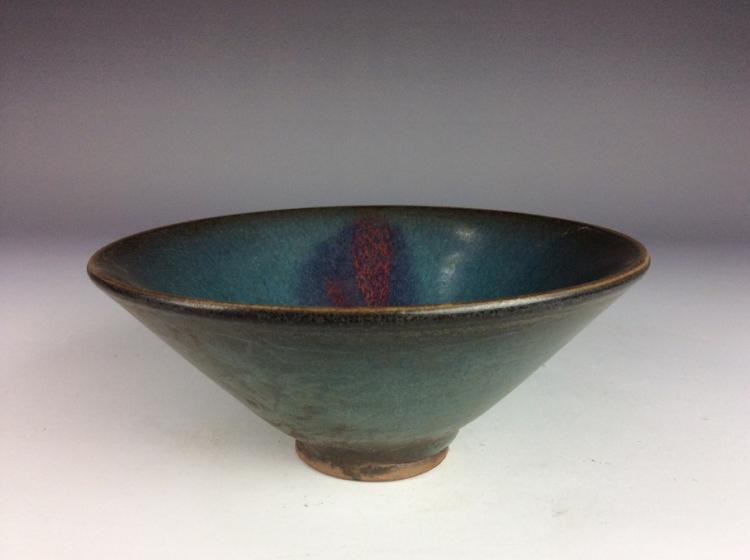 Chinese Yuan Jun style porcelain bowl,  glazed, decorated with purple  / red spot
