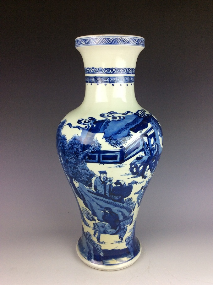 Qing period Vintage  Chinese porcelain vase, blue & white glazed, decorated & marked