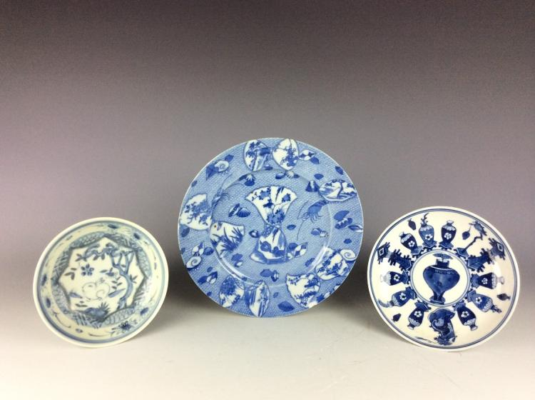 A set of 19C exported Chinese porcelain plates, blue & white glazed