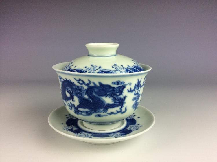 A set of Chinese porcelain tea cup, blue & white glazed, decorated, marked