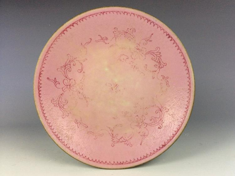 Vintage Chinese porcelain plate, pink glazed, decorated & marked.
