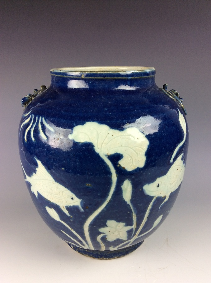 Vintage Ming period/styleChinese porcelain jar,blue ground decorated with white lotus fishes
