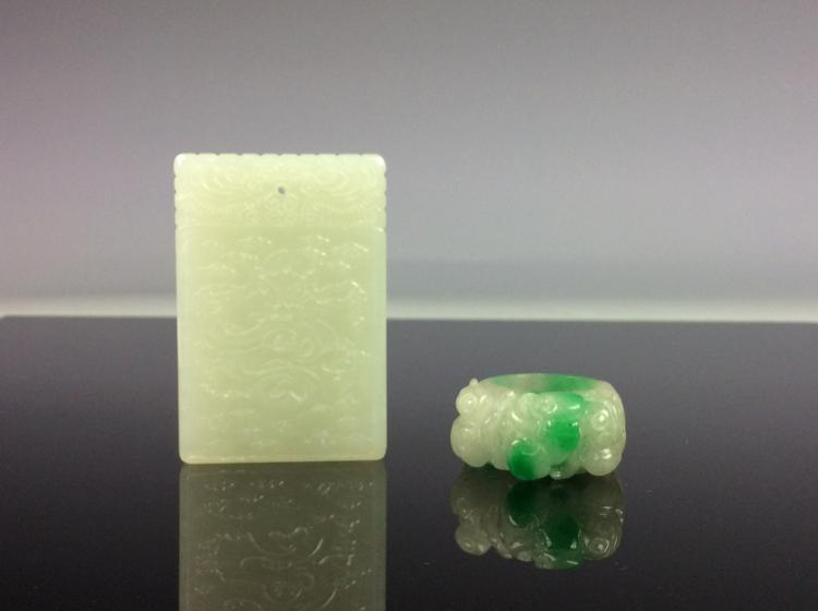 A set of two, one Chinese jadeite ring and one Chinese jade pendnt.