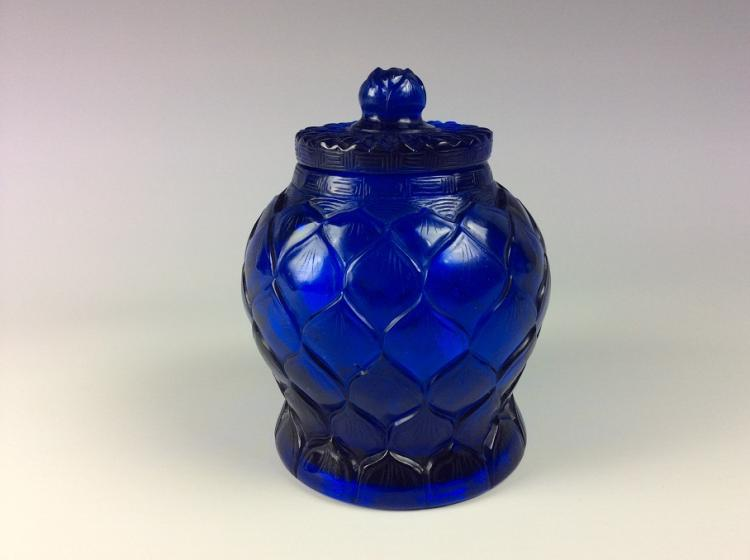 Fine Chinese glass pot, blue color, marked.