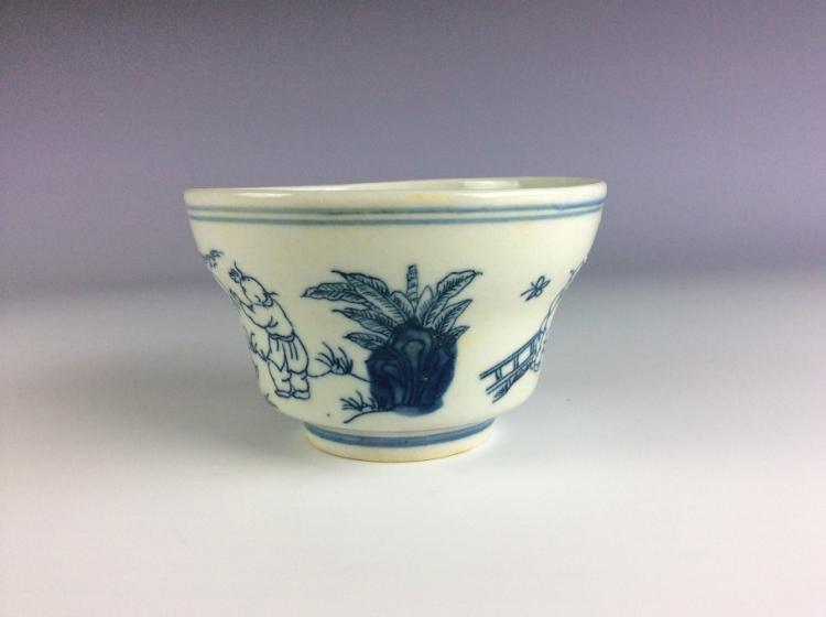Rare Chinese porcelain bowl, blue & white glazed,  marked