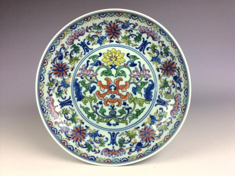 Chinese porcelain plate, Doucai glazed, decorated and marked