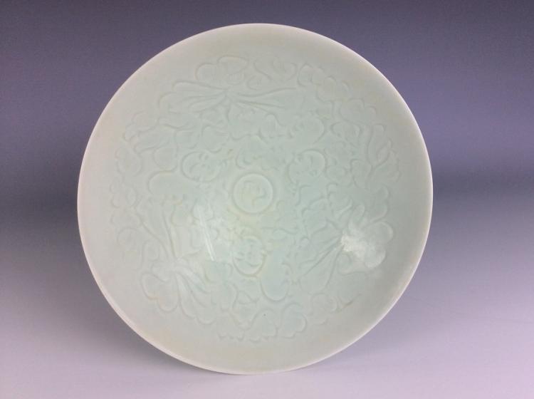 Chinese porcelain bowl, misty blue (Qingbai) glazed, decorated