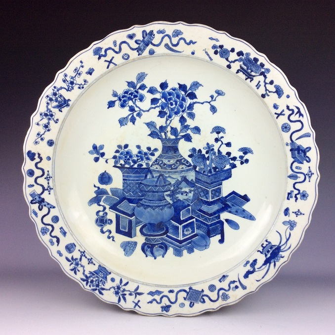 Large Chinese blue & white glazed porcelain plate, decorate & marked
