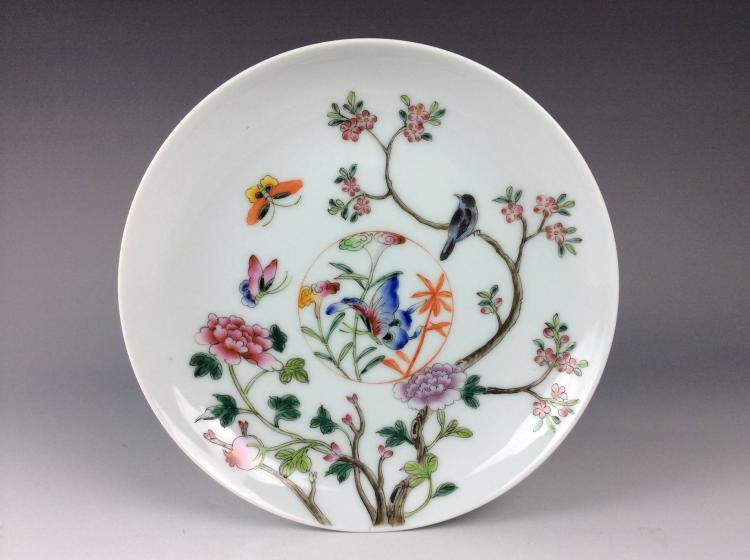 Fine Chinese porcelain plate, famille rose glazed,decorate & marked