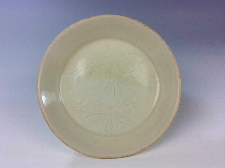 Vintage Song style, Ding white Chinese porcelain dish, decprated